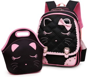 a pink and black backpack with pretty bow and pattern. It is at the moment one of the popular purses for teens.