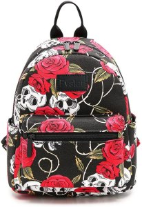 Backpack purse with one main compartment, front zippered pocket, main compartment and a top handle. It also has red and white flower pattern.