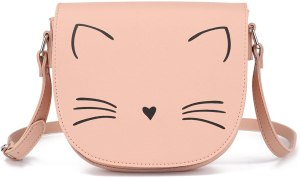 a pretty crossbody having cat face printed on the front. Indeed among the best purses for teens