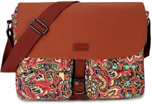 Baosha messenger bag with dark brown flab and other parts containing a multi-colored followers printed.