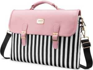 cute messenger bag with pink black and white color and a strap color. It also has a top handle along with removable shoulder strap.
