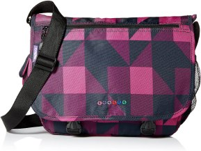 a purple, pink and blue messenger bag that is one of the perfect Messenger Bags for School Girl.