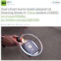 Dual citizen burns Israeli passport at Downing Street in Gaza protest