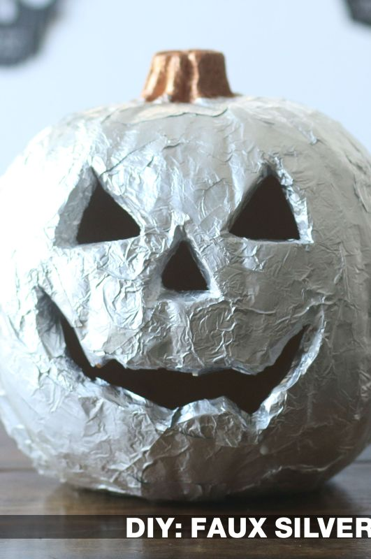 DIY: Silver Leaf Pumpkin with Aluminum Foil