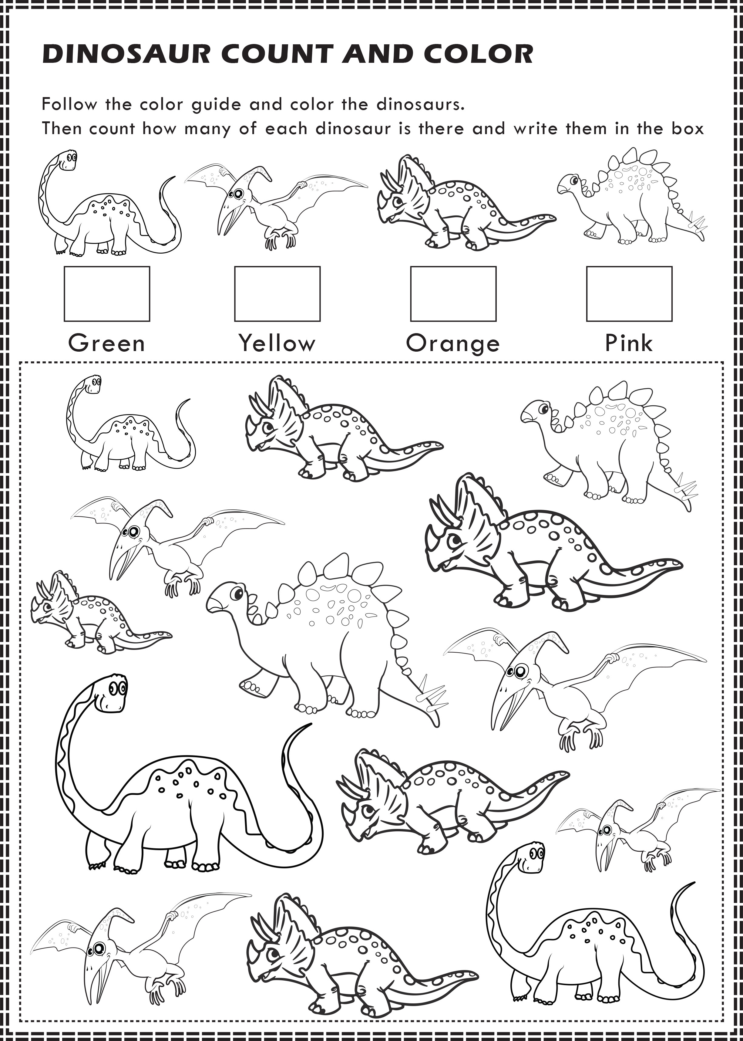 Free Printable Dinosaurs I Spy Count And Color Activity