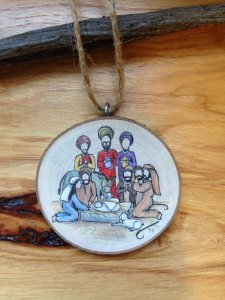 Nativity Tree Slice ornament