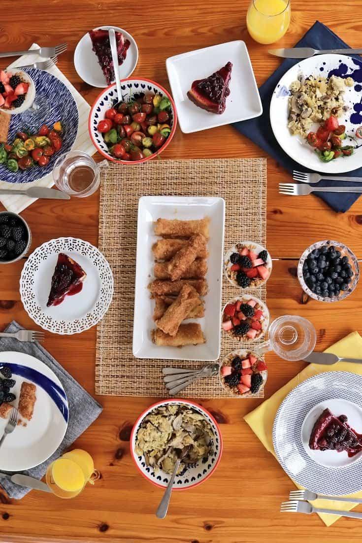 mother's day brunch, mothers day brunch, mothers day, brunch, gluten free brunch, gluten free mothers day, vegan mothers day, mother day, happy mothers day, mothers day brunch ideas, mothers day recipes, mother's day desserts, eggs, scrambled eggs, parfaits, yogurt, fruit, strawberries, cheesecake, tomato salad,