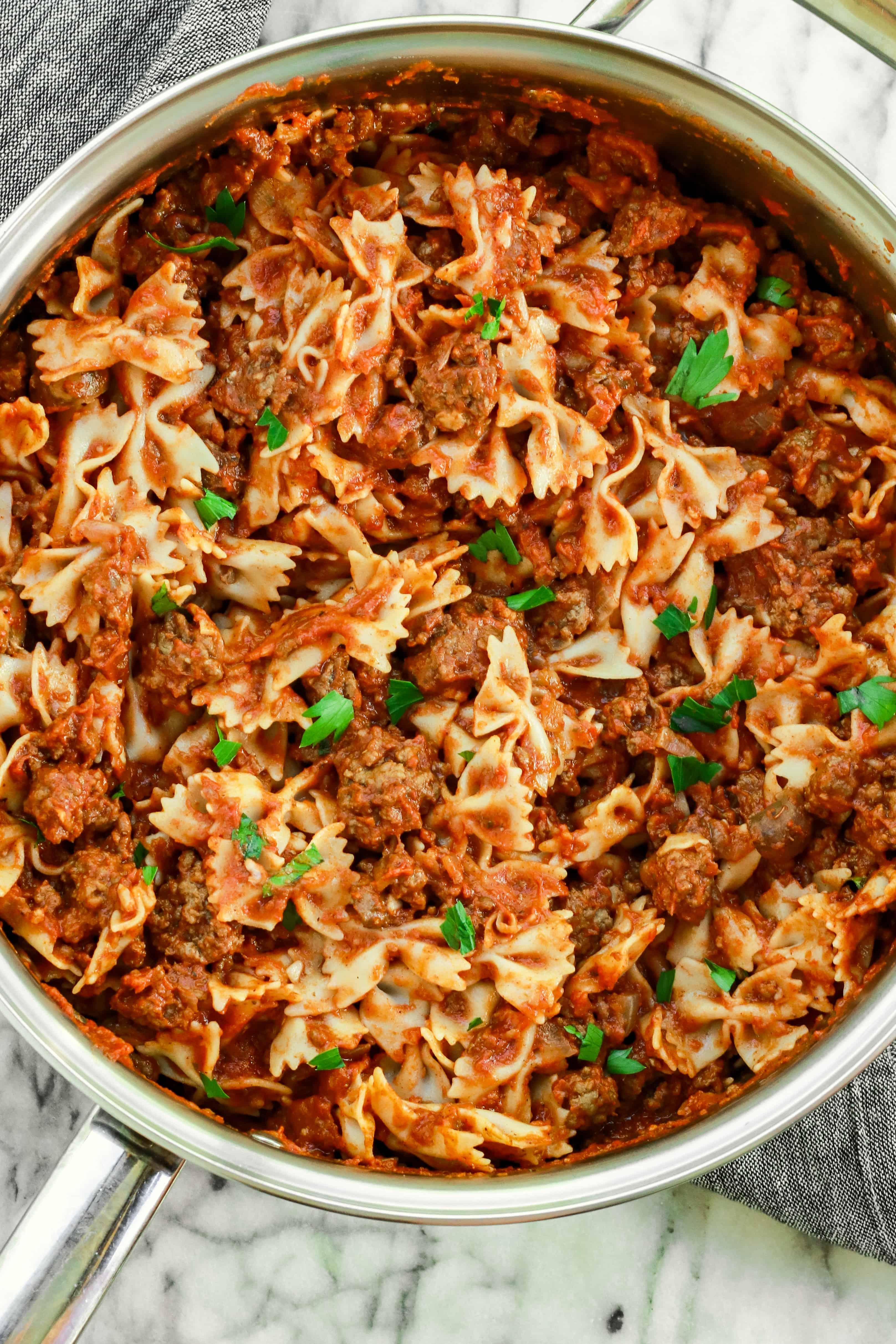 Gluten-Free Pasta with Ground Lamb Meat Sauce