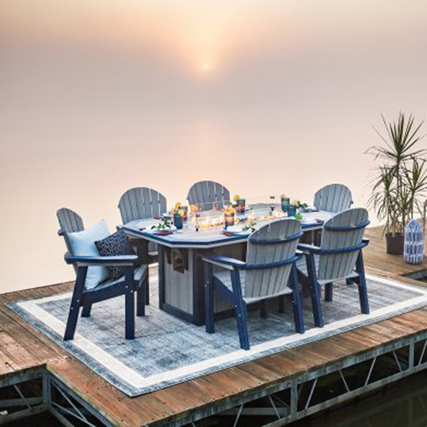 fire pit dining table rectangular 48 x 72