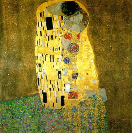 The Kiss, 1907-08, Oil and gold on canvas, 180 x 180 cm, Osterreichische Galerie, Vienna