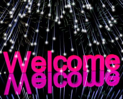 Welcome Word With Fireworks Shows Greeting Of Hospitality