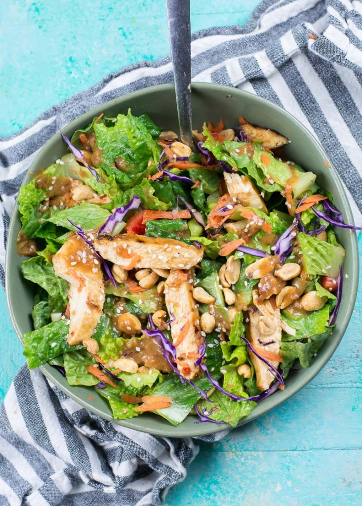 Spicy Thai Salad with Chicken is a Panera favorite you can make at home now! This delicious Thai Chili Vinaigrette peanut sauce will be a new favorite.