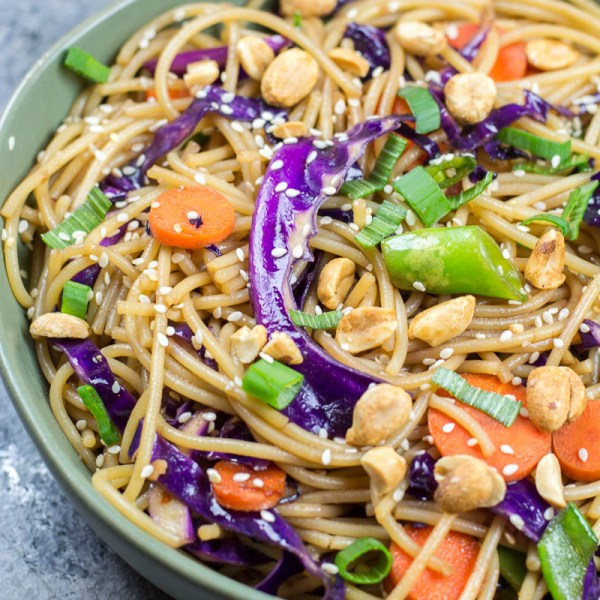 Vegetable lo mein is a delicious Asian noodle stir fry that can be made in 20-minutes right at home! This vegan recipe is a versatile staple you will want to make again and again.