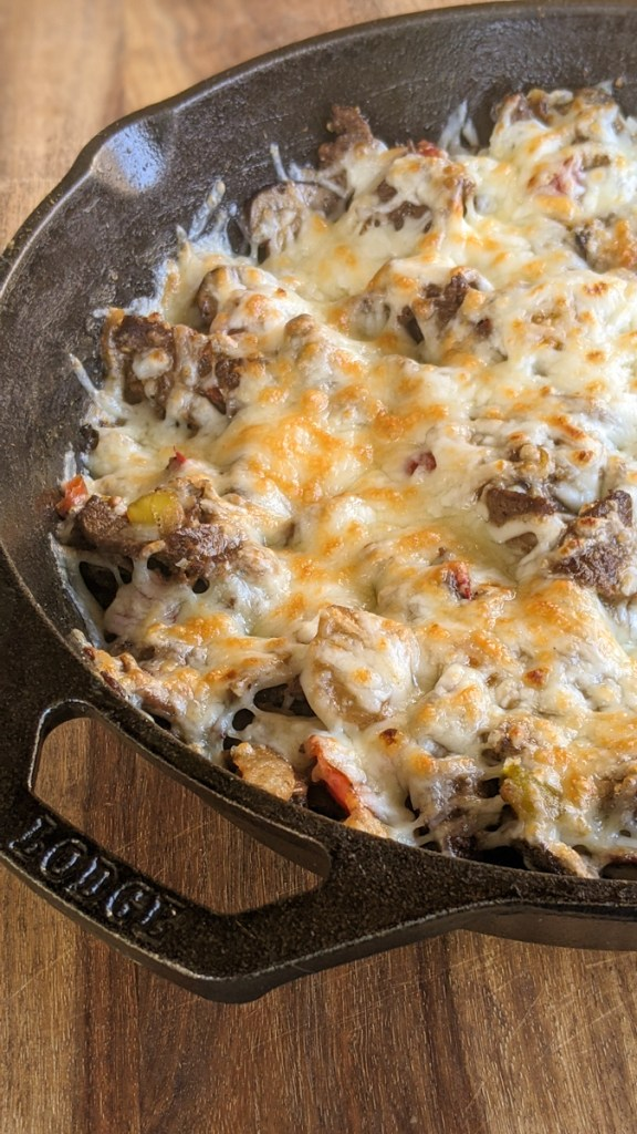 One Pan Keto Philly Cheesesteak Recipe is under 4 net carbs and ready in 30 minutes! This family-friendly meal is a keto diet staple.