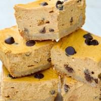 Keto Pumpkin Chocolate Chip Cheesecake Bars