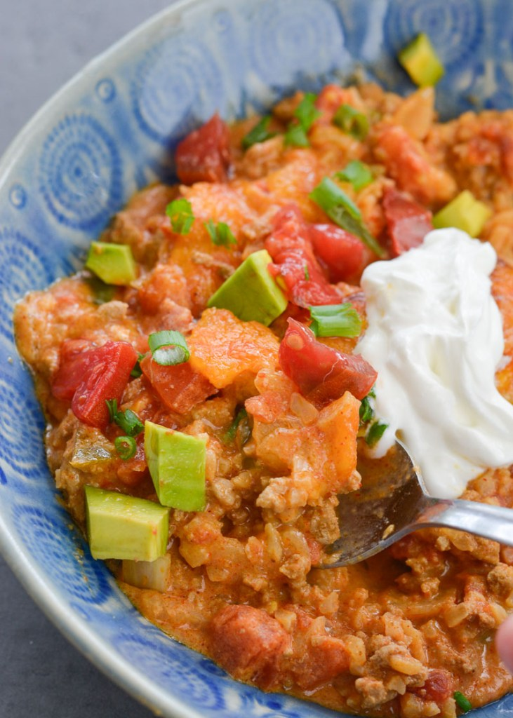 This low carb Keto Taco Casserole is loaded with seasoned ground beef, vegetables and loads of cheese!