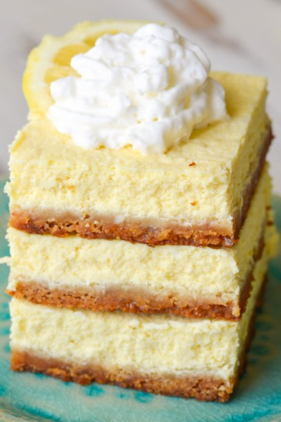 Delightful Keto Lemon Cheesecake Bars that are the perfect combination of sweet and tart! Each slice has about 2 net carbs!