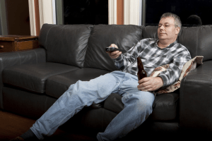 man taking a break from screaming at his children