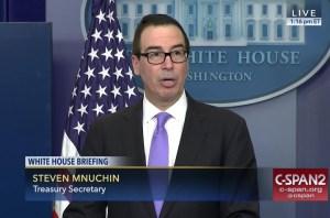 Mnuchin speaks to reporters