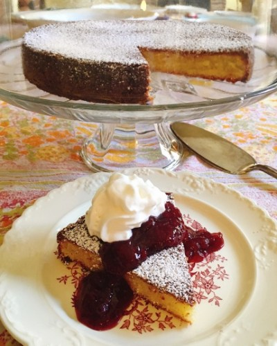 Almond Cake with Lingonberry Sauce