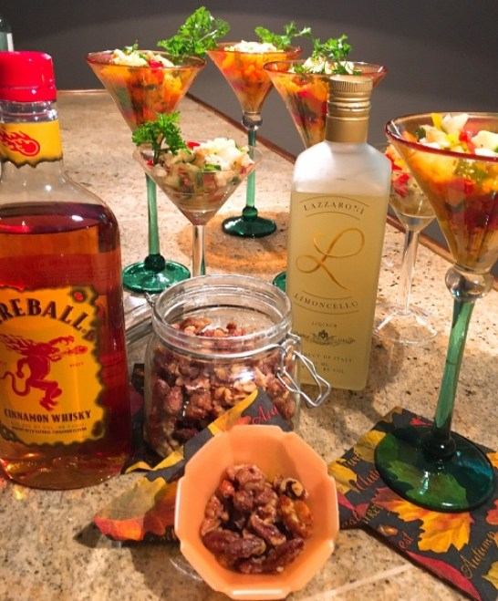 limoncello lobster cocktails candied fireball whisky nuts