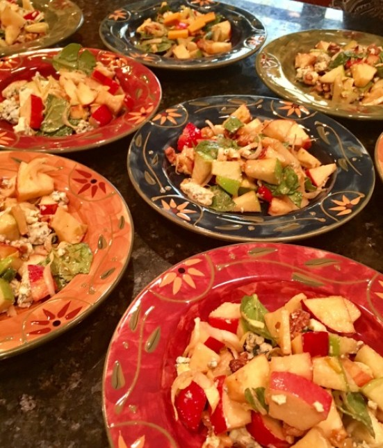 Apple Salad with Walnuts, Blue Cheese & Pomegranate Vinaigrette