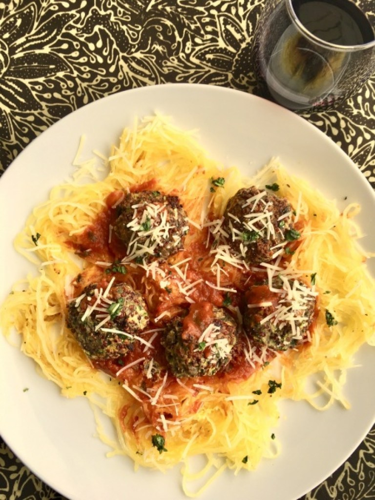 Beef-Zucchini Meatballs with Roasted Spaghetti Squash