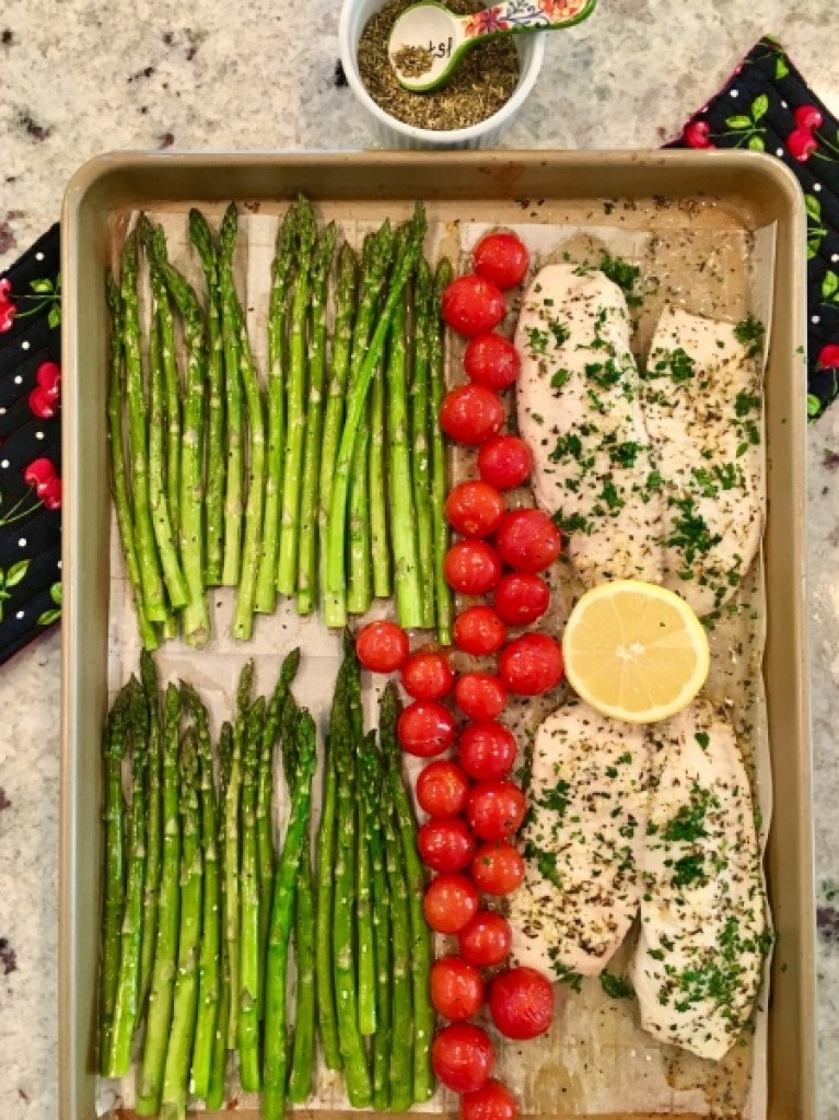 Sheet Pan with Garlic Butter Tilapia Asparagus & Cherry Tomatoes