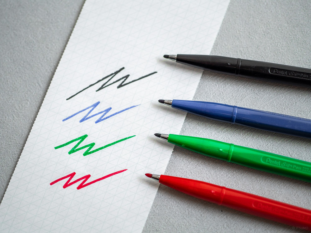 Pentel_sign pen_black-red-blue-green-3