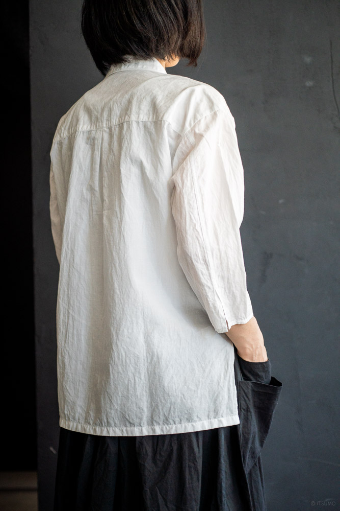 homspun-women's cotton linen open collar shirt with 3-4 sleeve-white-4