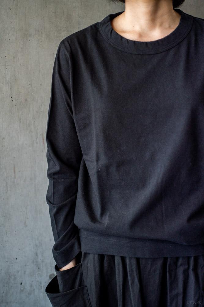 homspun-women's cotton long sleeve t-shirt-black-2