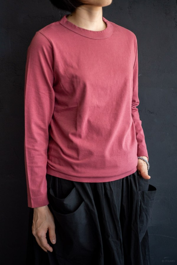 homspun-women's cotton long sleeve t-shirt-rasberry