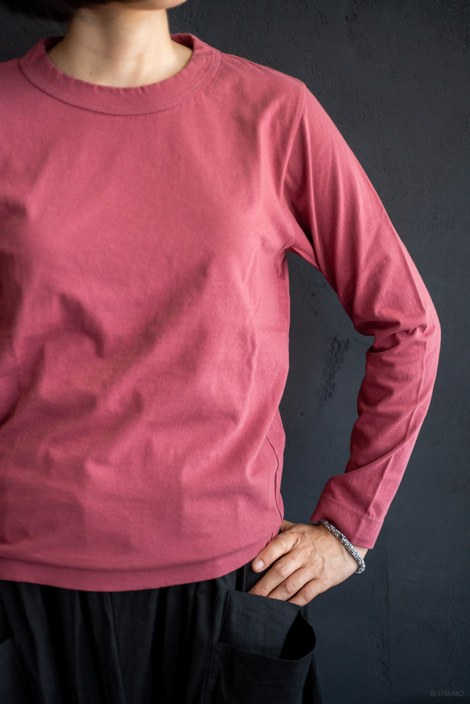 homspun-women's cotton long sleeve t-shirt-rasberry-4