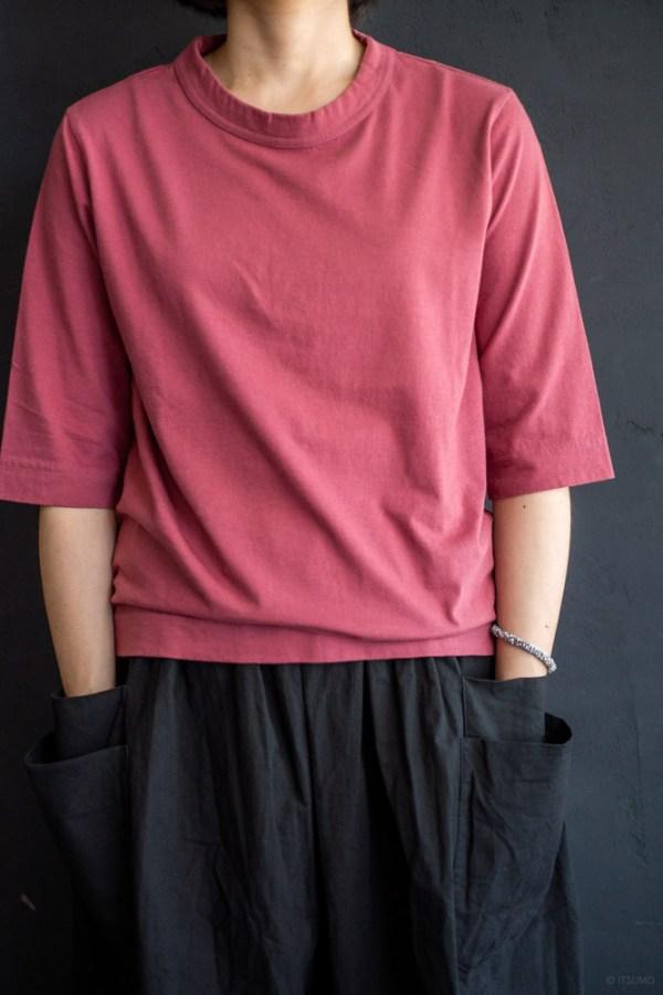 homspun-women's cotton half sleeve t-shirt-rasberry