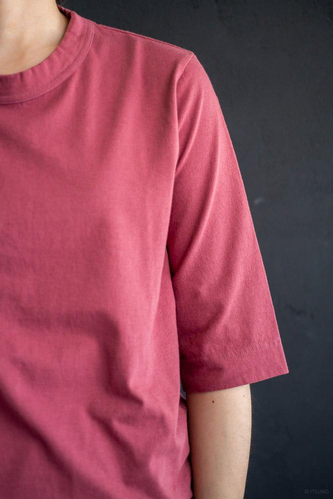 homspun-women's cotton half sleeve t-shirt-rasberry-2