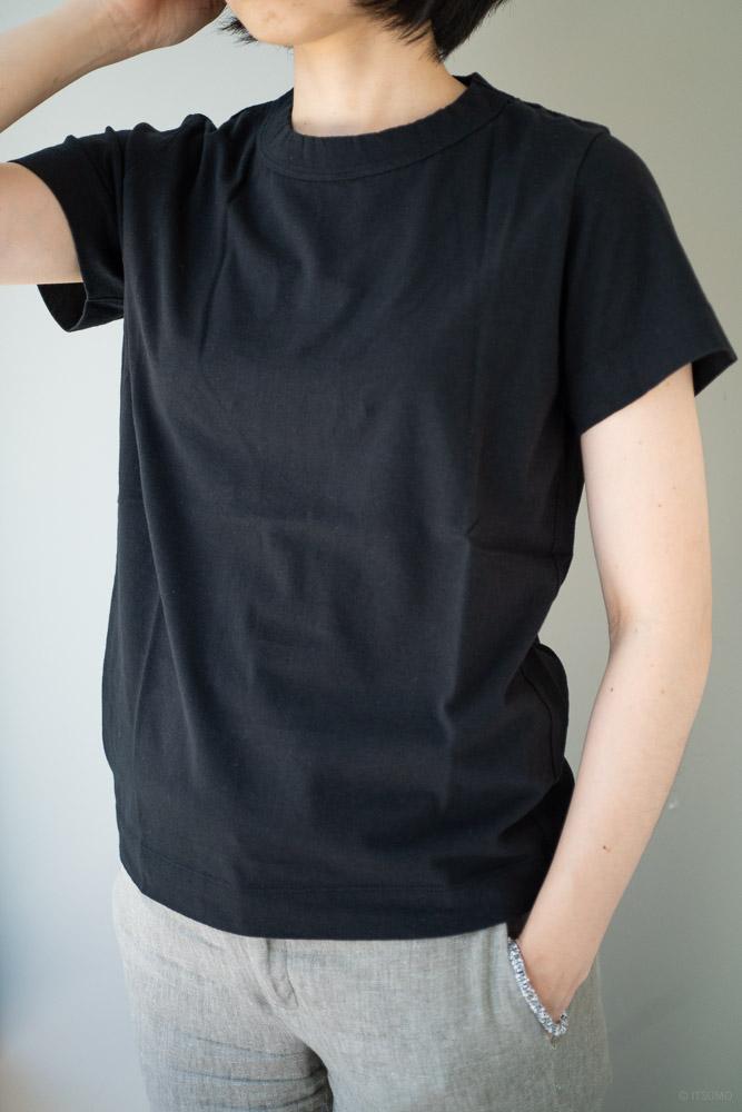 homspun-women's cotton short sleeve t-shirt-black-2