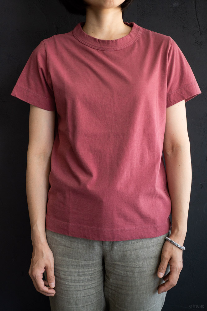 homspun-women's cotton short sleeve t-shirt-rasberry-2