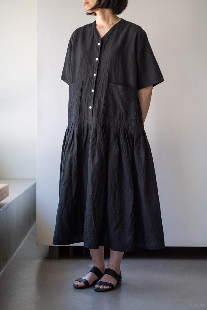homspun-women's linen chambray wide dress-black-2