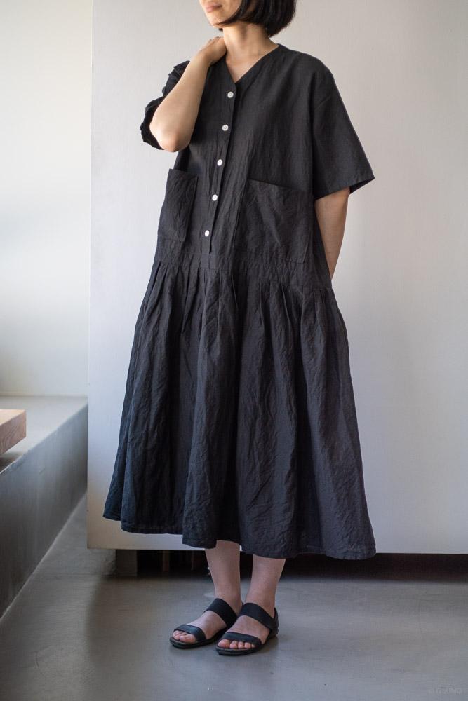 homspun-women's linen chambray wide dress-black-3