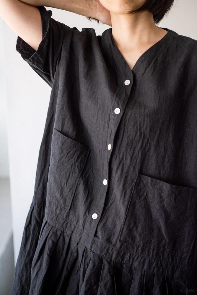 homspun-women's linen chambray wide dress-black-4