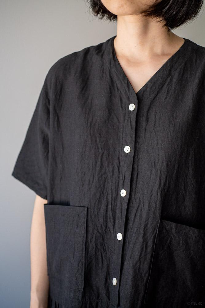homspun-women's linen chambray wide dress-black-6