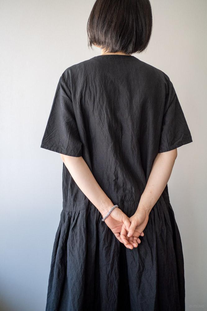 homspun-women's linen chambray wide dress-black-8