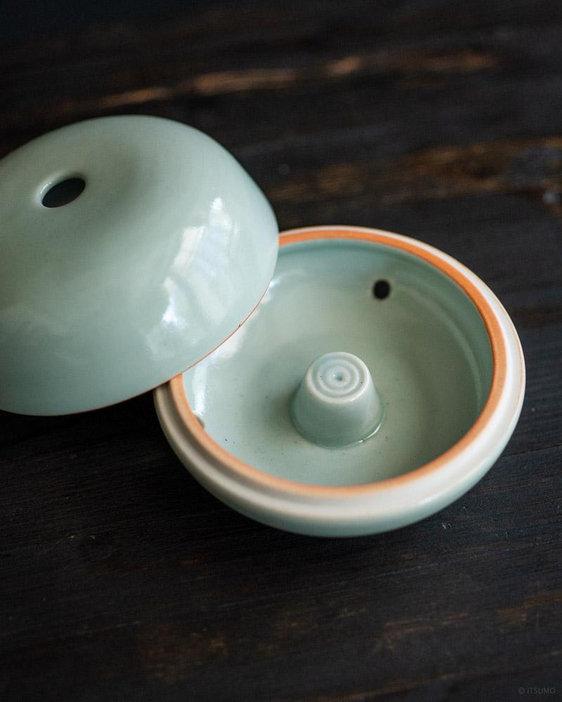 ceramic celadon incense coil burner-2