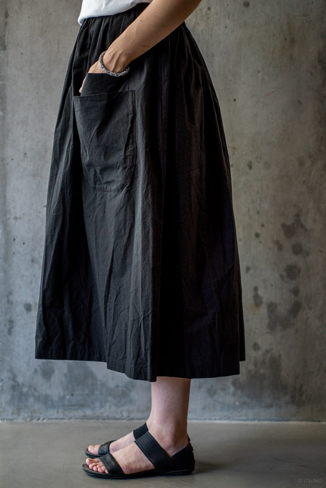 homspun-women's cotton double pocket long skirt-black-3