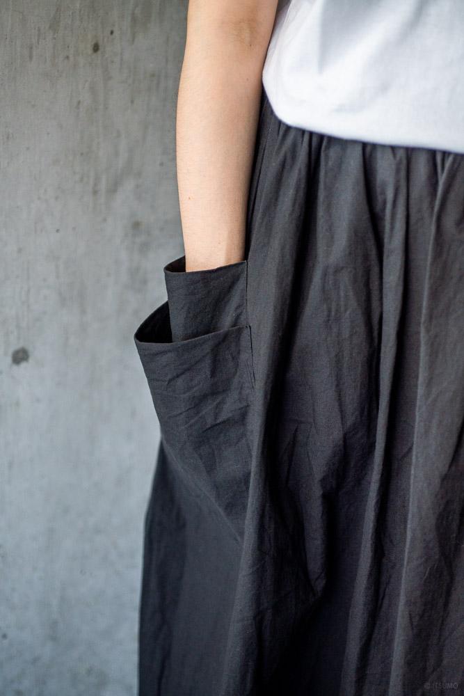 homspun-women's cotton double pocket long skirt-black-4