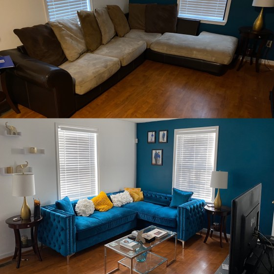 My chic living room before and after