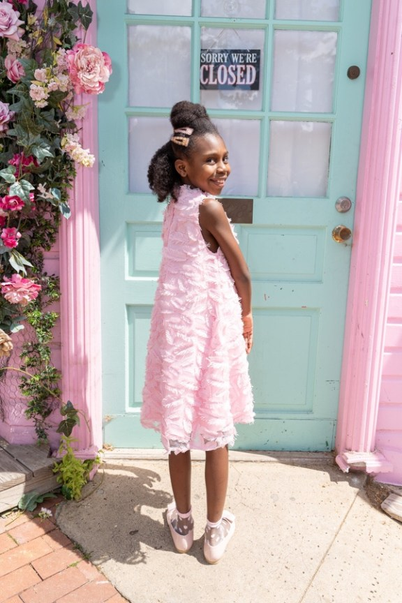 Janie and Jack Girl Orchid Pink Think Pink Feather Fringe Dress