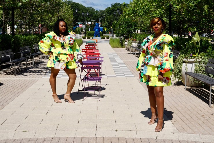 two women in the park wearing CHRISTOPHER JOHN ROGERS X TARGET