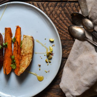 BAKED SPICED SWEET POTATO WEDGES WITH PISTACHIOS & HONEY