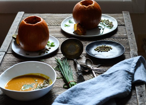Fall Honeynut Squash Soup in a Pumpkin - What's Cooking_